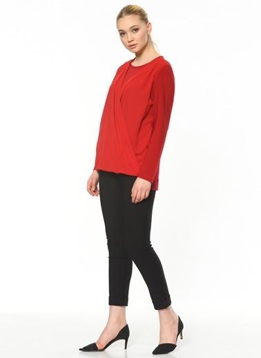 Butik Triko Uzun Kollu Anvelop Bluz Kırmızı